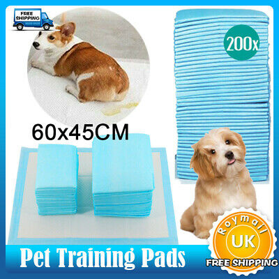 200 Large Puppy Pads Dog Pet Toilet House Training 60x45cm Wee Potty Pee Mat Cat