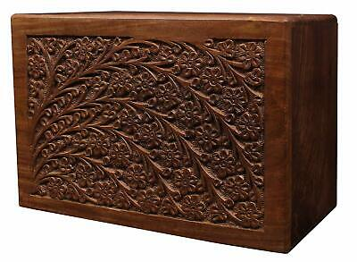 Rosewood Memorial Funeral Urn Box For Human Ashes Adult Handcrafted Engraved
