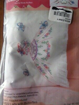 Fairway Stamped Ruffled Vintage Pillowcases Lady With Butterflies Flowers