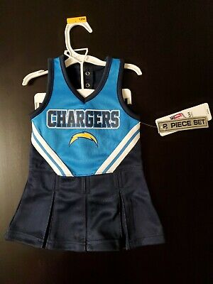 """NEW"" Infant/Baby Girls  Chargers 12 Mo Cheerleader Cheer Outfit Dress NFL"