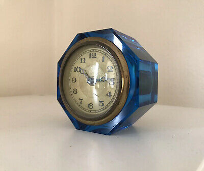 Stunning Art Deco Small Blue Glass Clock