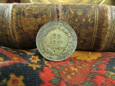 ancienne piece monnaie coin france indo chine 1930 20 cent centimes argent