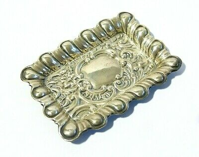 Antique 1901 Sterling Silver Pin Tray Trinket Dish Scallop Edge Rococo Repousse