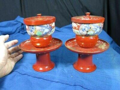 Makie Cup Stand Pair Edo Meiji Period Lacquerware Porcelain Dyed Tenmedai Tea