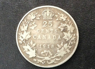1918 Canada Twenty Five Cents George V Silver Canadian Coin A3049