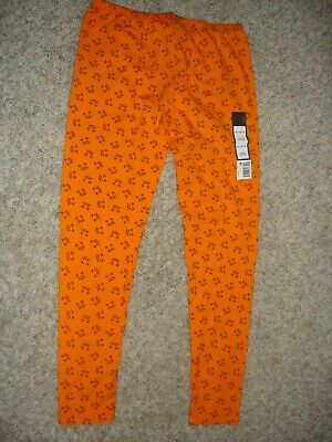 NEW orange stretch leggings with cat faces girl's size XL 14/16