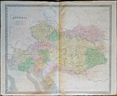 Extremely Rare Map Of Austria 1853-1856 Genuine Large Frameable