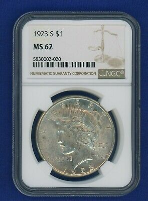 1923 S NGC MS62 Peace Silver Dollar $1 US Mint NGC 1923-S MS-62 PQ !