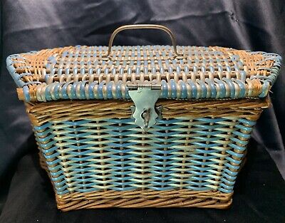 Vintage 1930s Sewing Box Wicker and Rubber Basket With Some Original Contents