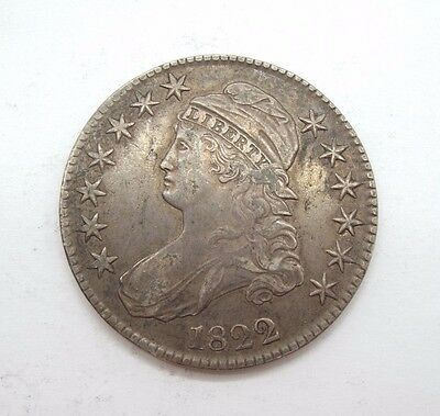 1822 Capped Bust/Lettered Edge Half Dollar EXTRA FINE Silver 50-Cents