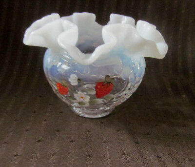 Vintage Fenton Opalescent Glass Rose Bowl Vase~Painted Strawberry Signed Amy S