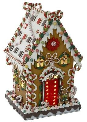 Cookie and Candy Gingerbread House Light Up Christmas Building Figurine J3579