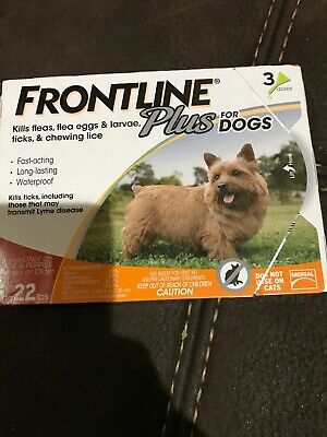 Frontline Plus Flea & Tick Control for DOGS 5-22lbs ORANGE 3 Doses Pack