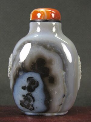 Chinese Handmade Carved Natural Agate Snuff Bottle