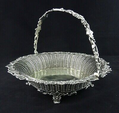 Stunning Victorian Old English Leaf And Grape Embossed Woven Basket Fruit Bowl