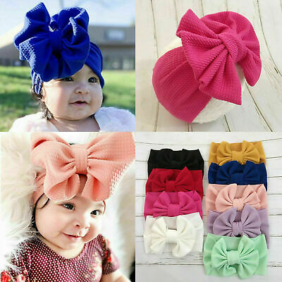 Toddler Girls Baby Big Bow Hairband Headband Stretch Turban Knot Head Wrap UK-