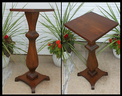 Antique Solid Walnut Gracefully Curved Shapely Square Pedestal Fern Plant Stand