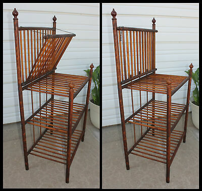 Tall Antique Oak Wood Spindle Stick &Ball Tiered Magazine Music Sheet Stand Rack