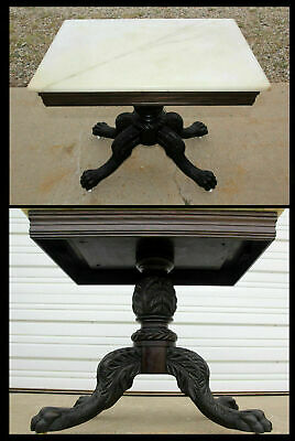 Victorian Marble Hand Carved Clawfoot Acanthus Rose Wood Pedestal Table Antique