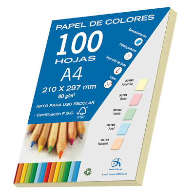 Dohe 30190 – Pack of 100 A4 Sheets 80 g, Pastel Yellow