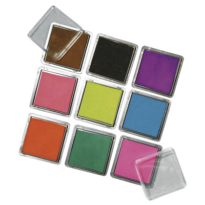 RAYHER Ink Pads for Stamping, 3.5 cm x 3.5 cm, Set of 9 Colours