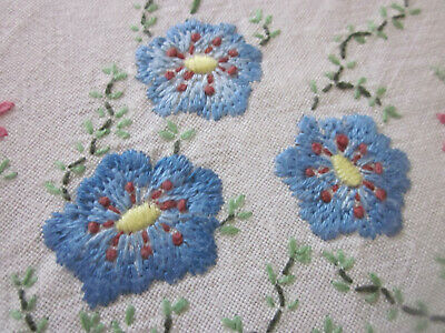 Beautifully Hand Embroidered Blue And Pink Floral Pure Linen Tablecloth