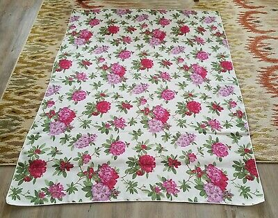 Vintage Pink Floral Fabric Table Cloth 50 1/2 inches by 70 1/2 inches