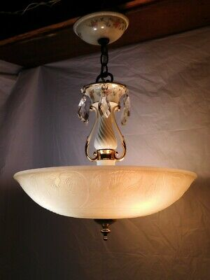 art deco antique chandelier ceiling light fixture dining bedroom hall old 40s