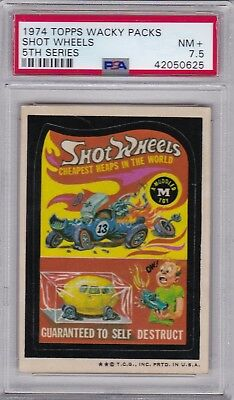 1974 Topps Wacky Packages SHOT WHEELS PSA 7.5 NM+ Series 5 Packs - CENTERED
