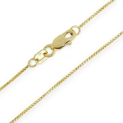 """10K Yellow Gold Solid Box Chain Necklace .55mm Wide 14 16 18 20 22 24"""" Lengths"""