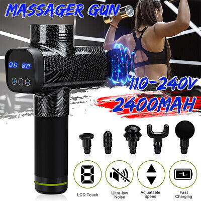 Adjustable Speed LCD Percussion Massager Gun Massage Vibration Therapy w/5 Heads
