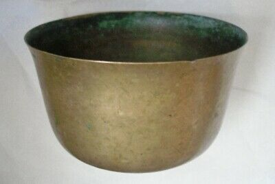 ARTS CRAFTS Bronze or Brass BOWL Wabi Sabi PATINA Verdigris SIGNED Lots of WEAR