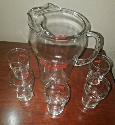 Vintage Coca - Cola Pitcher and Glass Set (5)