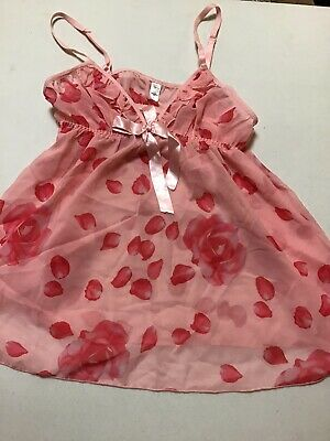 *`1 Pc Passion Forever Pink Nylon With Red Roses Nightie Lingerie