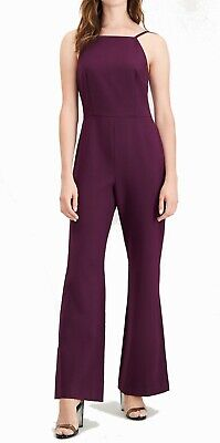 French Connection Women's Jumpsuit Purple Size 4 Wide Leg Seamed $198 555