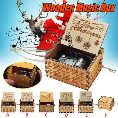Retro Christmas Wooden Hand Cranked Music Box Home Decor Crafts Toys Xmas Gifts