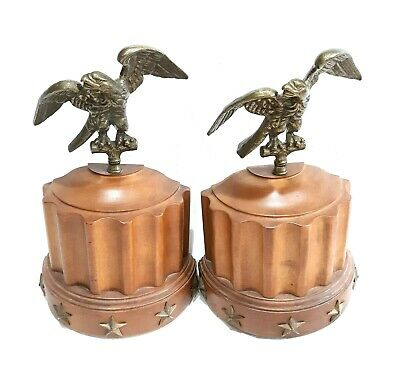 Vintage Tell City Chair Co 3109 Brass Eagle & Maple Wood Bookends # 48 Andover