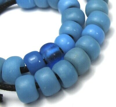 34 Rare Amazing Old Sky Blue Padre/Crow Antique Beads