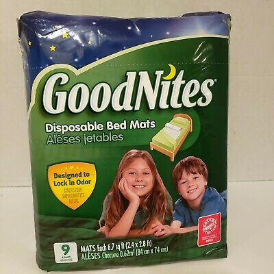 GoodNites Disposable Bed Mats 9 Count NightTime Protection Super Absorbent Core
