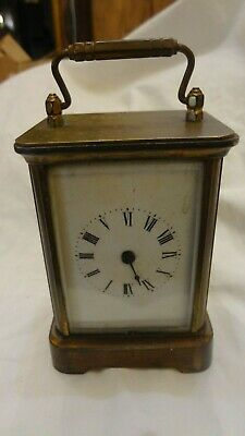 Antique Vintage Miniature Carriage Clock - Brass and Beveled Glass Waterbury