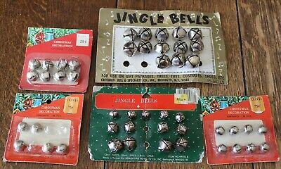 "Vintage Lot of 47 Miscellaneous Silver Christmas Jingle Bells 3/8"" to 7/8"""
