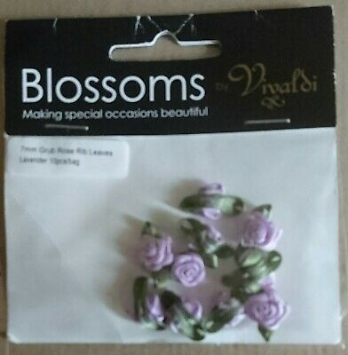 10 PK Small Mini Satin Ribbon Rose Buds Flowers Embellishment Gold Silver UK