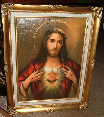 "SACRED HEART OF JESUS  Wood Framed Print 17""by 20"" New Catholic Traditional"