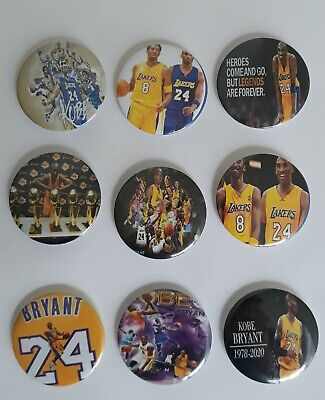 Kobe Bryant Buttons Badge pin Lot of 9 size 2.5 inches