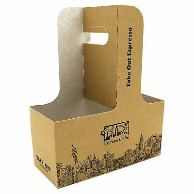 15 Pieces 2 Cup 7.625 X 3.75 X 8.875 Kraft Drink Carrier with Handles by MT Products