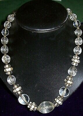 Stylish,Stunning,French, Art Deco,Clear Glass Beaded Necklace,42 cm long approx.
