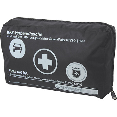 """Cartrend 7730043 First aid bag, black, DIN 13164, with """"Malteser"""" emergency meas"""