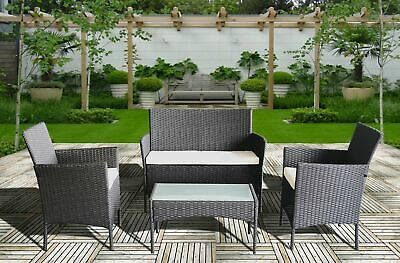 GARDEN FURNITURE SET 4 PIECE RATTAN WIth SOFA TABLE AND CHAIRS OUTDOOR PATIO SET