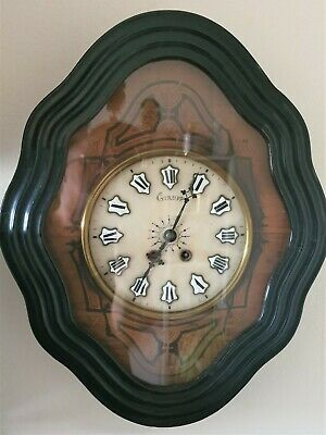 French Wall Clock Oeil de Boeuf Antique 8 Day 19c Pendulum