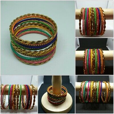 Indian Bollywood fashion Multi colour 16 Bangle Bracelet Costume Jewellary set